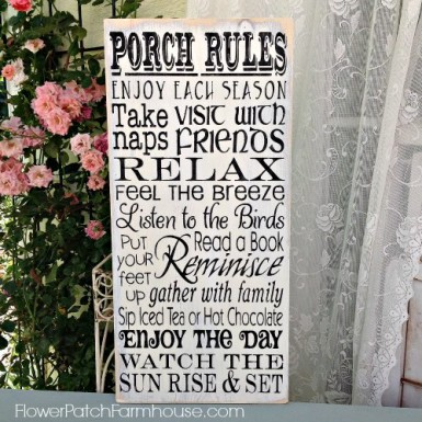 Hand painted Porch Rules sign. Creamy crackled and distressed background with charcoal black lettering, FlowerPatchFarmhouse.com