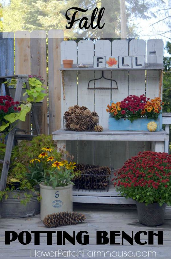 DIY Potting Bench in Fall