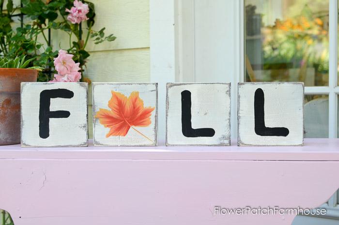 Fall Scrabble tile decor with a painted leaf, FlowerPatchFarmhouse.com