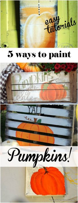 Come and see how you can create a pumpkin painting 5 + ways, great for your Fall decor! FlowerPatchFarmhouse.com