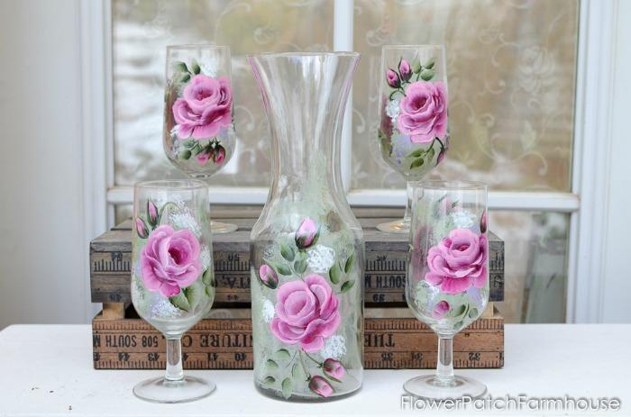 Rose Wine Set 1, FlowerPatchFarmhouse.com (1 of 3)