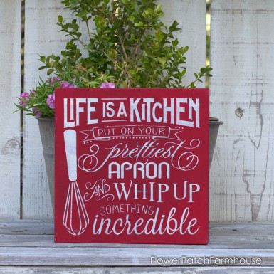 Red Life is a Kitchen hand painted sign. Solid wood and sealed with an exterior grade protective coating. FlowerPatchFarmhouse.com
