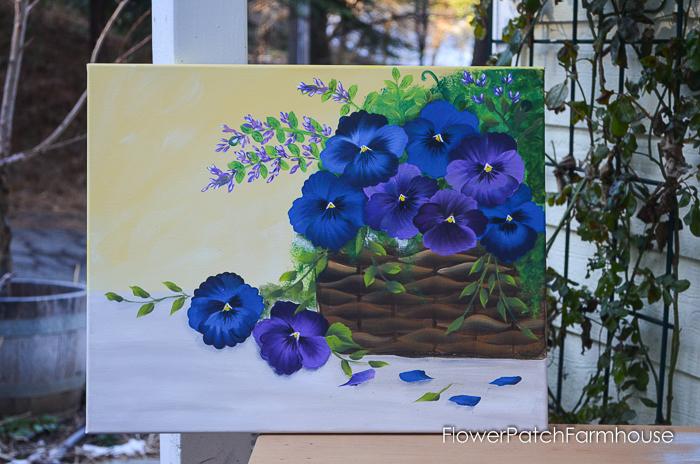 Blue and Purple Pansies in Basket, FlowerPatchFarmhouse.com (2 of 4)