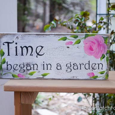 Time began in a Garden sign pink roses, FlowerPatchFarmhouse.com (1 of 2)