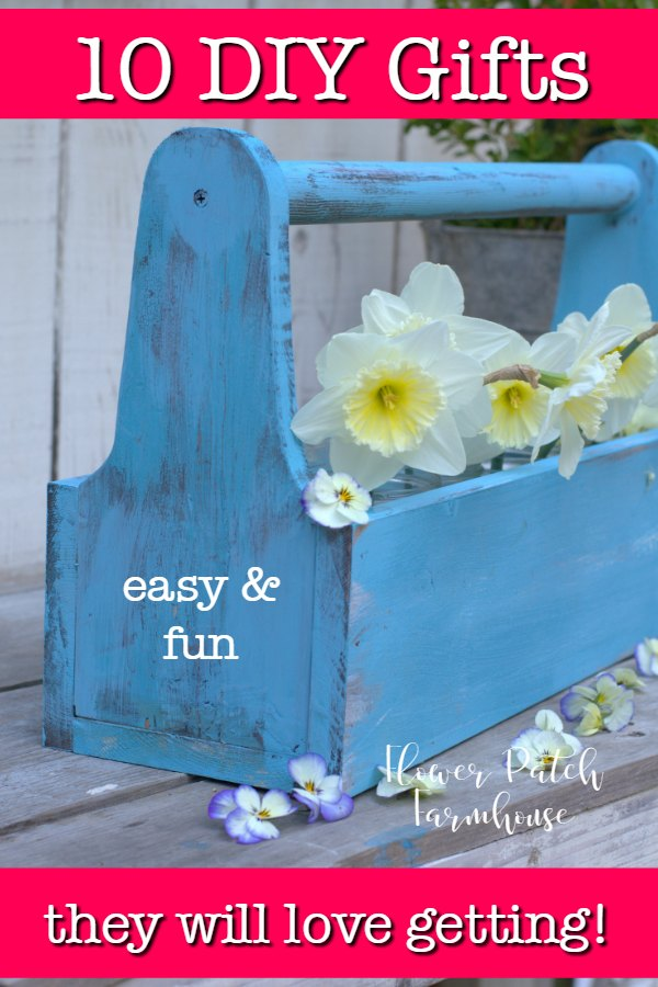 blue diy tool box with daffodils and text overlay, flower patch farmhouse