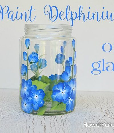 How to Paint Delphiniums on glass one stroke at a time. Recycle glass jars, wine bottles or any glass surface with this technique. Fun and so easy too!