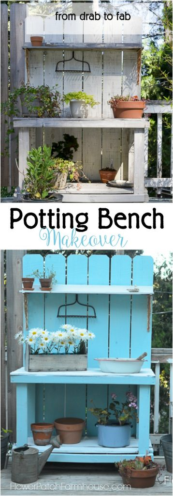 """DIY Potting Bench Makeover, just a coat of paint and this went from Drab to Fab. Easy to apply with a great farmhouse finish. Add one of these DIY potting benches to your 'to do"""" list today! Great for so many things."""