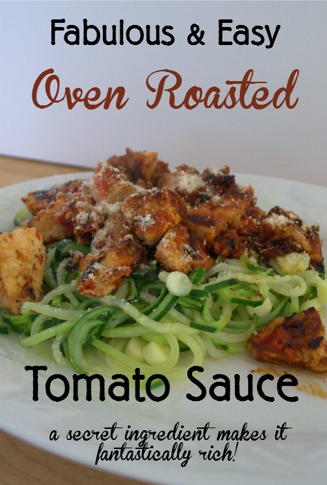 A super easy way to use up the surplus of veggies at harvest time. Oven roasted tomato sauce is not only very easy but it has a secret ingredient you will love!