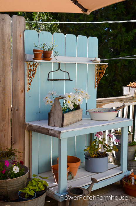 DIY Potting Bench Refresh with chalk finish paint