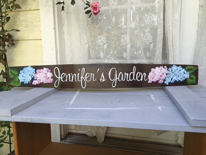 Jennifer's Garden custom sign