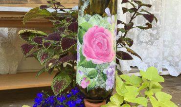 Terra Cotta Plant Waterer & Painted Bottles