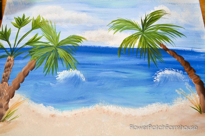 How to Paint Easy Palm Trees in acrylics. Add them to the Easy Beach painting for a tropical feel. Simple directions, step by step with video.