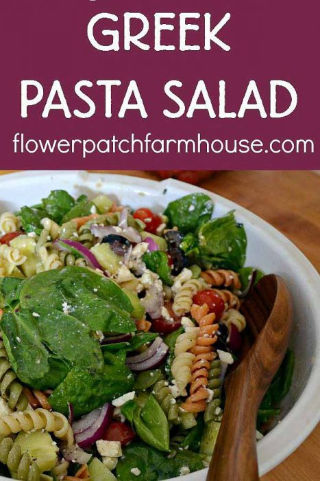 Greek Pasta Salad recipe, an easy make ahead dish that will please a crowd. This recipe tastes even better the second day. Loaded with garden fresh vegetables and feta cheese for a hint of tang!