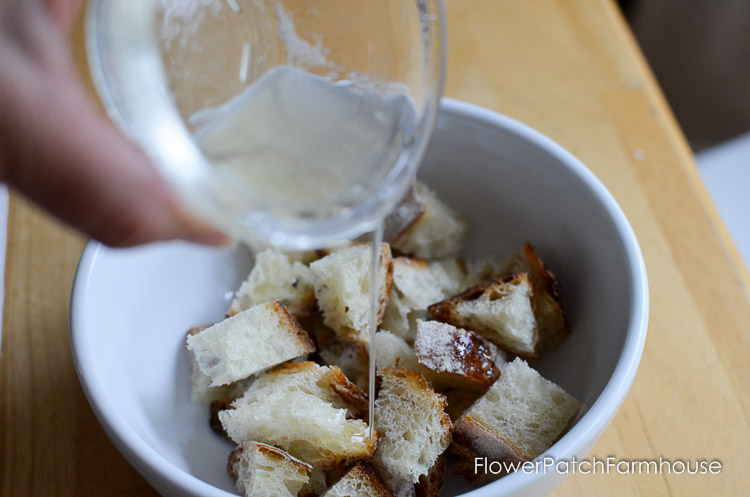 Easy and delicious homemade croutons. So tasty and worth the small effort to make them up. They store in a sealed container for a week or so.