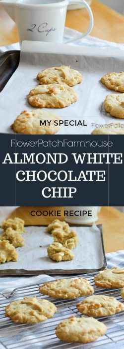 Almond White Chocolate Chip cookies with my secret ingredient!