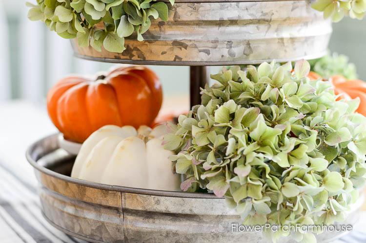Hydrangeas and pumpkins for Fall Dining room decor