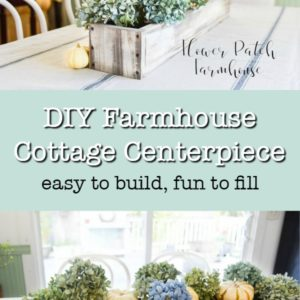 diy crate with hydrangeas and pumpkins
