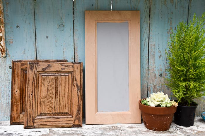 used cabinet doors in different sizes, DIY frames from cabinet doors