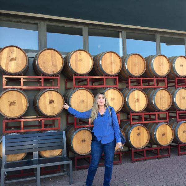 visit to Fredericksburg Texas. wine barrels in front of tasting room