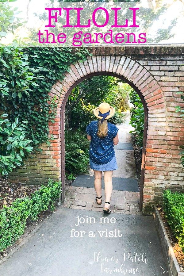 Arched doorway in a brick garden wall Filoli Gardens