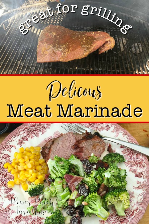tri top roast on grill and on plate with vegetables, text overlay, Delicious Meat Marinade, Flower Patch Farmhouse