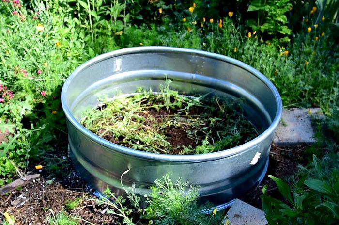galvanized fire ring in garden,
