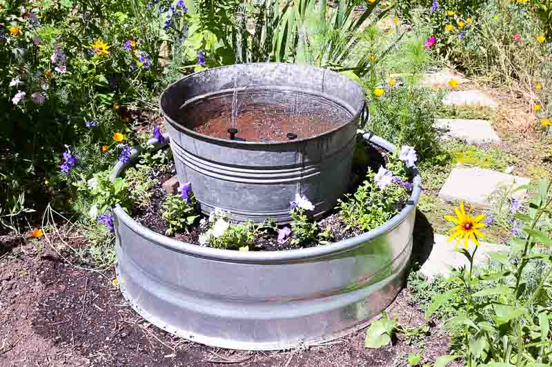 DIY planter with solar fountain tub, flower patch farmhouse