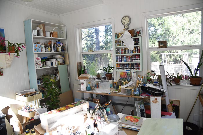 cluttered inside of my little cottage studio