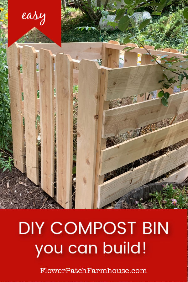 cedar fence board compost Bin with text overlay, DIY Compost Bin you can build, easy, flower patch farmhouse dot com