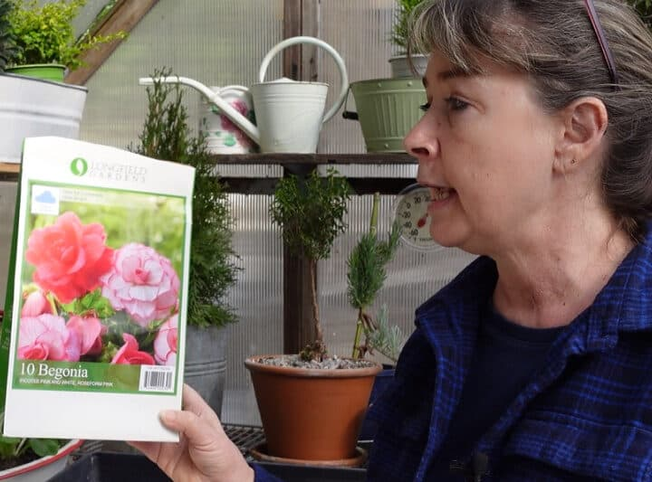 Pam holding package of pink begonia tubers